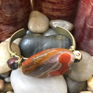 🆕 Agate & Brass Cuff Bracelet